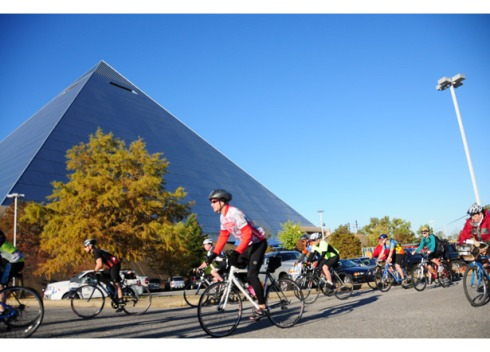 Cyclists depart from the Pyramid in downtown Memphis to ride the Bluff City Blues 100 (Katherine Fisher, on Bicycling .com)