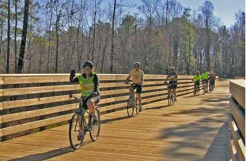 Members of the Williamsburg Bicycling Association riding on the Virginia Capital Trail.