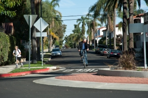 Example of bicycle boulevard infrastructure in Long Beach, CA.  Image from bikelongbeach.com.