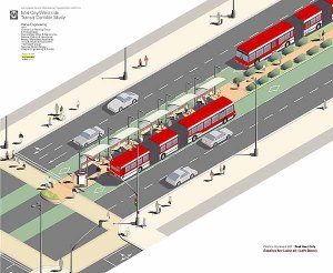 Concept drawing for BRT on Rt. 29 in Charlottesville.  Image from http://imspatial.wordpress.com.