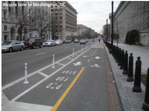 A two-way cycle track (separated bike lane) in Washington, D.C.
