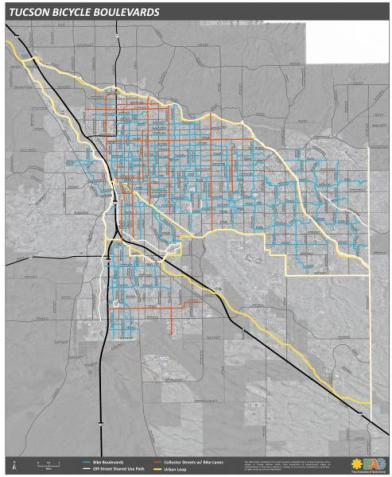 A map of bike boulevards and lanes in Tuscon, AZ.  Blue lines are bike boulevards; red are bike lanes on busier streets.
