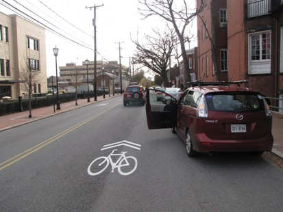 Sharrow (shared lane marking) on Harrison Street.