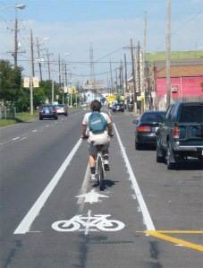 A new bike lane in Memphis, TN, formerly known as one of the worst U.S. cities for cyclists.