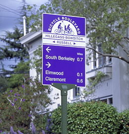 Special signage for a bicycle boulevard in Berkeley, CA.  This is one of several recommendations from the city's Urban Design Committee that traffic planners did not include in the final design.  From http://www.studiolimage.com.