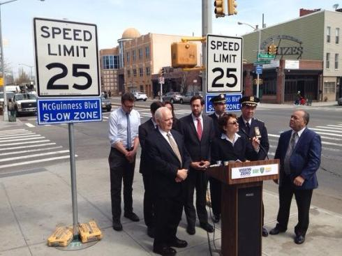 Inaugurating a new Arterial Slow Zone in NYC on a major commercial street.